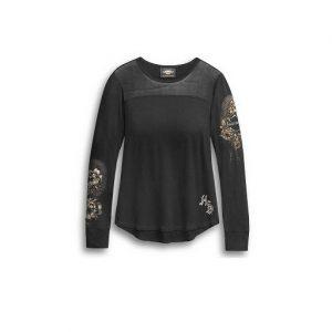 Harley-Davidson Skull&Roses mesh női hosszú ujjú felső