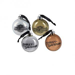 Harley-Davidson Trademark Logo gömb karácsonyfadísz 4 db-os szett
