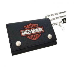 Harley-Davidson B&S hímzett logo láncos pénztárca