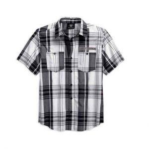 Harley-Davidson fekete-fehér kockás férfi rövid ujjú ing