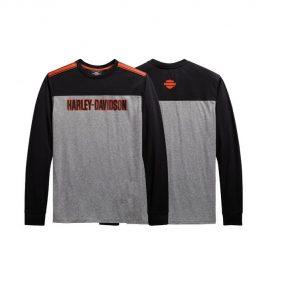 Harley-Davidson Performance micro mesh colorblock férfi hosszú ujjú póló