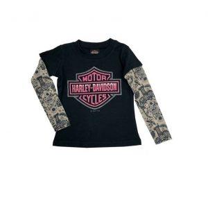 Harley-Davidson glitter & tattoo hosszú ujjú kislány póló